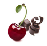 Cherry with leaf and chocolate curls isolated