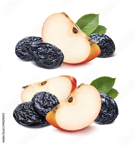 Poster Double red quarter apple and dry plums isolated