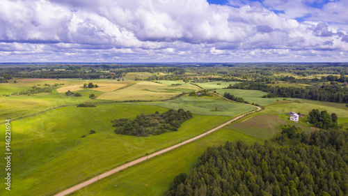 Tuinposter Purper Drone flight over the farmland