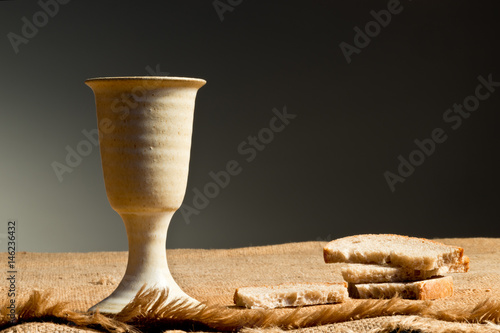 Poster Chalice Of Wine With Bread On The Table