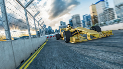 Formel Rennwagen auf einem City Racetrack