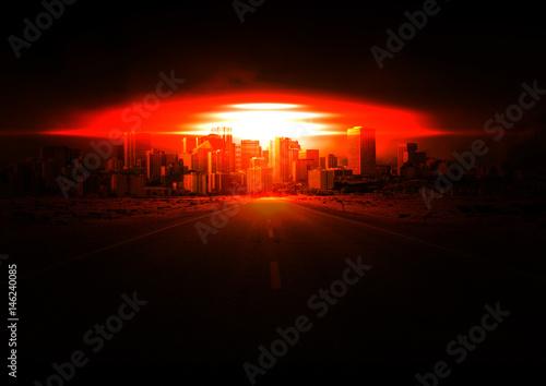 Atombombe, Atomexplosion über Stadt Poster