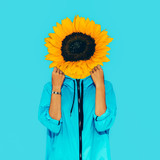 Sunflower girl Surreal Minimal collage - 146254886