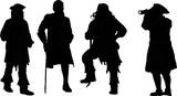 海賊船長のシルエット Wall Sticker
