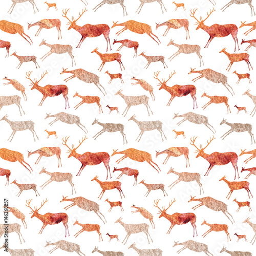 Cave Painting Seamless Pattern. Animals with watercolor texture. Poster