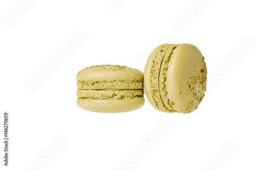 Foto op Canvas Macarons green pistachio macaron isolated