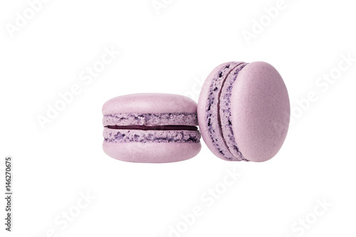 Fotobehang Macarons purple blueberry macaron isolated