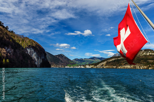 Panoramic view of Brunnen town in Switzerland Poster