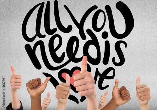 Thumbs up all you need is love Poster