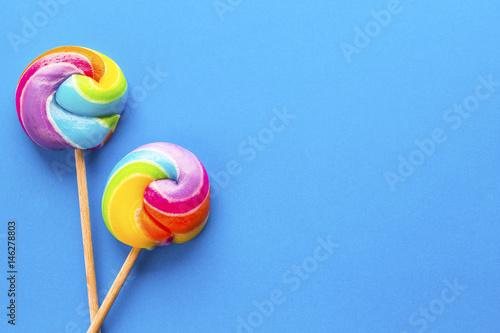 rainbow colour lollipops