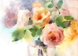 Watercolor Roses Flowers In The Vase Floral Background Texture Hand Painted - 146284247