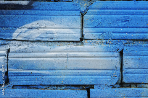 wall of brick with blue paint Poster