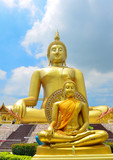 Buddha statue big golden background gold temple
