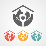 pet care logo with home icon