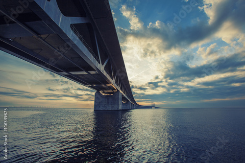 Poster The bridge between Copenhagen Denmark and Malmo Sweden, Oresundsbro, sunset in t