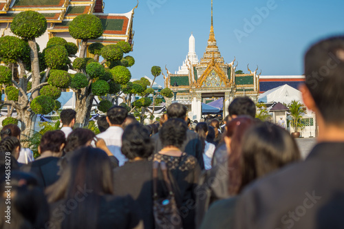 Poster People to pay and respect to Thai King Bhumibol
