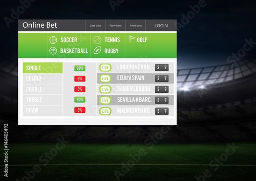 Betting App Interface stadium