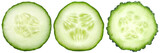 Three kinds of cucumbers, fresh juicy slices cucumber on a white background, isolated