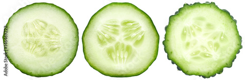 Spoed canvasdoek 2cm dik Verse groenten Three kinds of cucumbers, fresh juicy slices cucumber on a white background, isolated