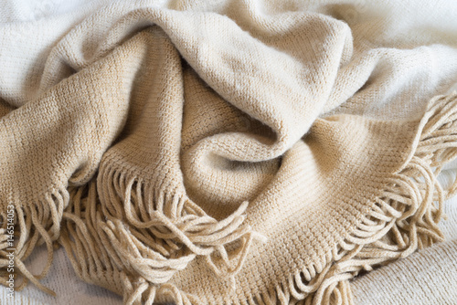 Soft Neutral Fabric Blanket Pile Background Poster