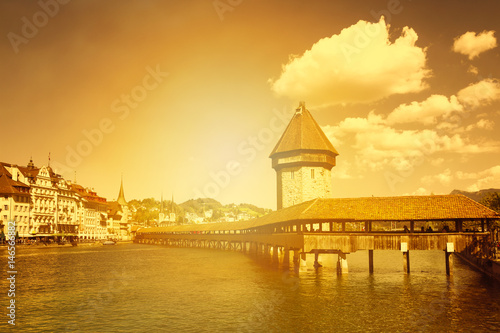 Cityscape of Lucerne with famous Chapel Bridge and lake Lucerne, Switzerland Poster
