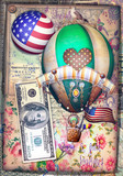 Poster with circus hot air balloon and flag