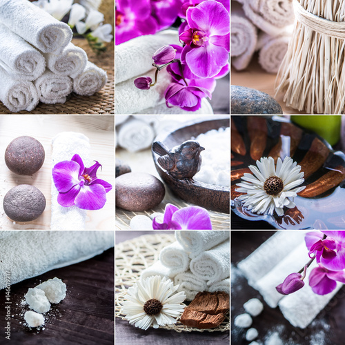 Papiers peints Spa spa collage. Accessories for spa