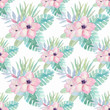 Cotton fabric Watercolor tropical pattern