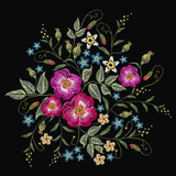 Embroidery wild roses, dogrose flowers vector. Classic style embroidery, beautiful fashion template for clothes, t-shirt design - 146712247