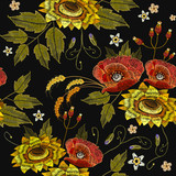Embroidery rose and sunflowers seamless pattern. Beautiful embroidery blossoming sunflowers and red roses, fashion template for clothes, t-shirt design - 146712256
