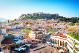 Skyline of Athenth with Moanstiraki square and Acropolis hill, Athens Greecer, retro toned - 146767058