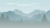 Landscape with blue silhouettes of mountains, hills and forest with flying birds in the sky - vector illustration