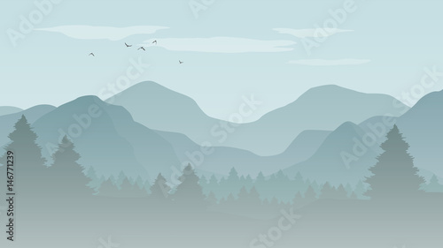Foto Spatwand Lichtblauw Landscape with blue silhouettes of mountains, hills and forest with flying birds in the sky - vector illustration