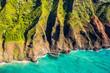 Na pali coast in Kauai, Hawaii. Aerial view from helicopter of coastline.