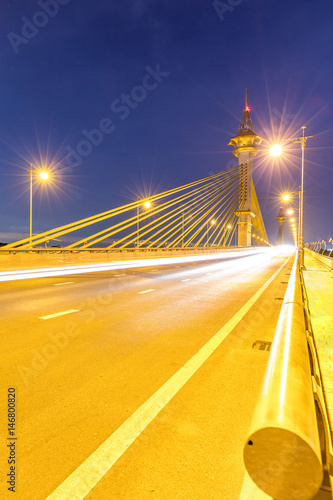 Poster Bridge in Nonthaburi Thailand Sunset