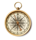 antique compass close up isolated on white background - 146993223