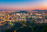 Seoul city and namsan tower skyline at night in Korea