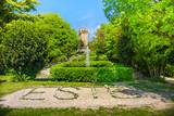 Carrarese castle italian garden in Este town euganean hills area padova province veneto region italy - 147005256