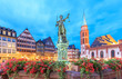 old town with the Justitia statue in Frankfurt