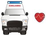Cartoon, car, ambulance, transport, flasher, medicine, white, hospital, 911, red, Heart, pulse, heartbeat,