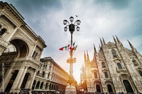 Foto op Canvas Milan Beautiful Panoramic view of Duomo square in Milan with big street lamp. Italy.