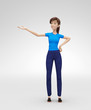 Excited and Smiling Jenny - 3D Cartoon Female Character Model - Presents Product or Service with Confidence, in Casual Clothes, Isolated on White Spotlight Background