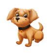 Cute Happy Little Furry Puppy Smiling - Cartoon Animal Character Sitting, Wagging Tail - Hand-Drawn Animated Mascot for Illustration, Magazine, Children's Book, Cover, Greeting or Post Card - 147090491