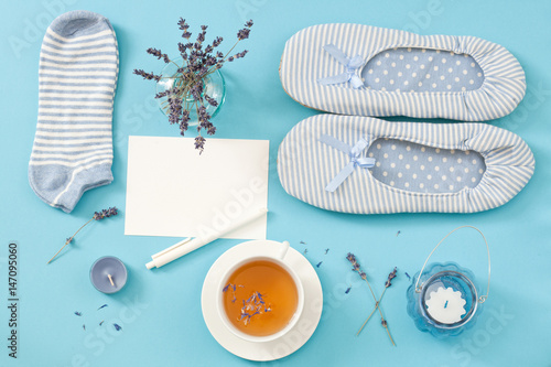 Flat set of comfort objects for the calm night