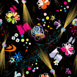abstract seamless background, flowers