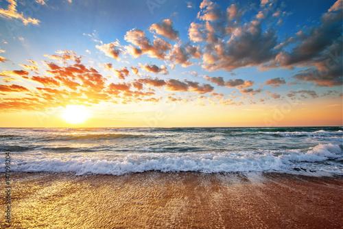 Seascape during sundown. Beautiful natural seascape. Poster