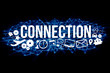 Connection title isolated on a background and surounded by multimedia icons - Internet concept
