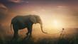 Elephant walked by child