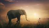 Elephant walked by child - 147199083