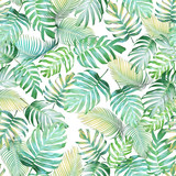 Tropical leaves seamless pattern of Monstera philodendron and palm leaves in light green-yellow color tone, tropical background. - 147218411